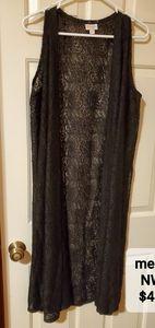 Black lace duster vest